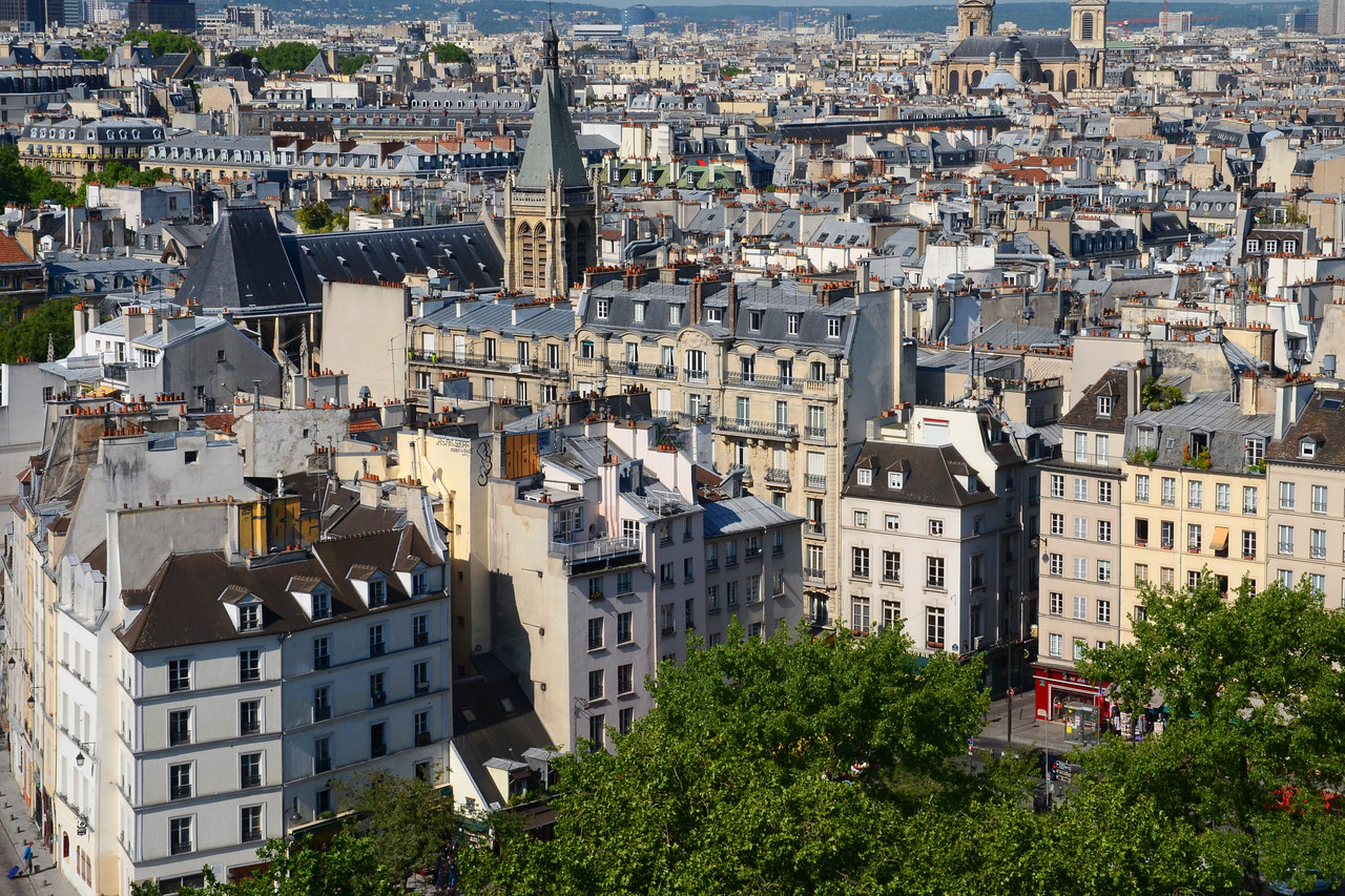 Looking toward the Rue St. Jacques from the tower of Notre Dame