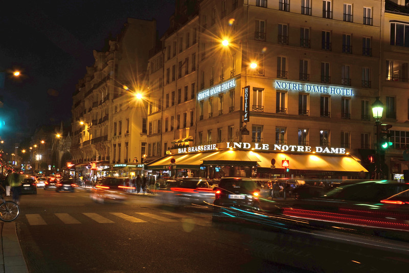 Night street scene at the Notre Dame Hotel, Paris