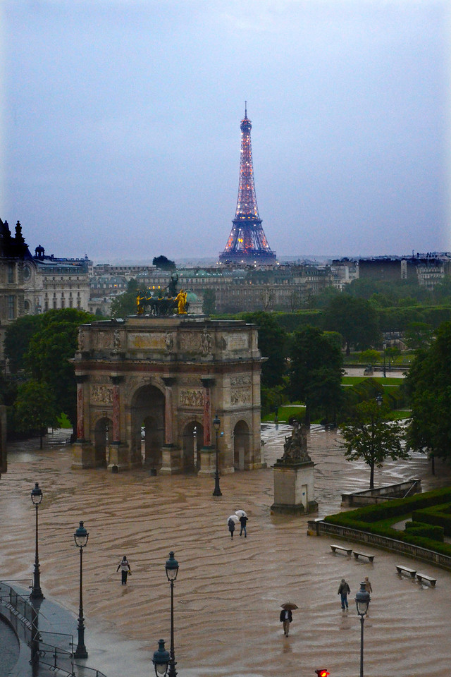 Dusk view of the Eiffel Tower from the top floor of the Louvre