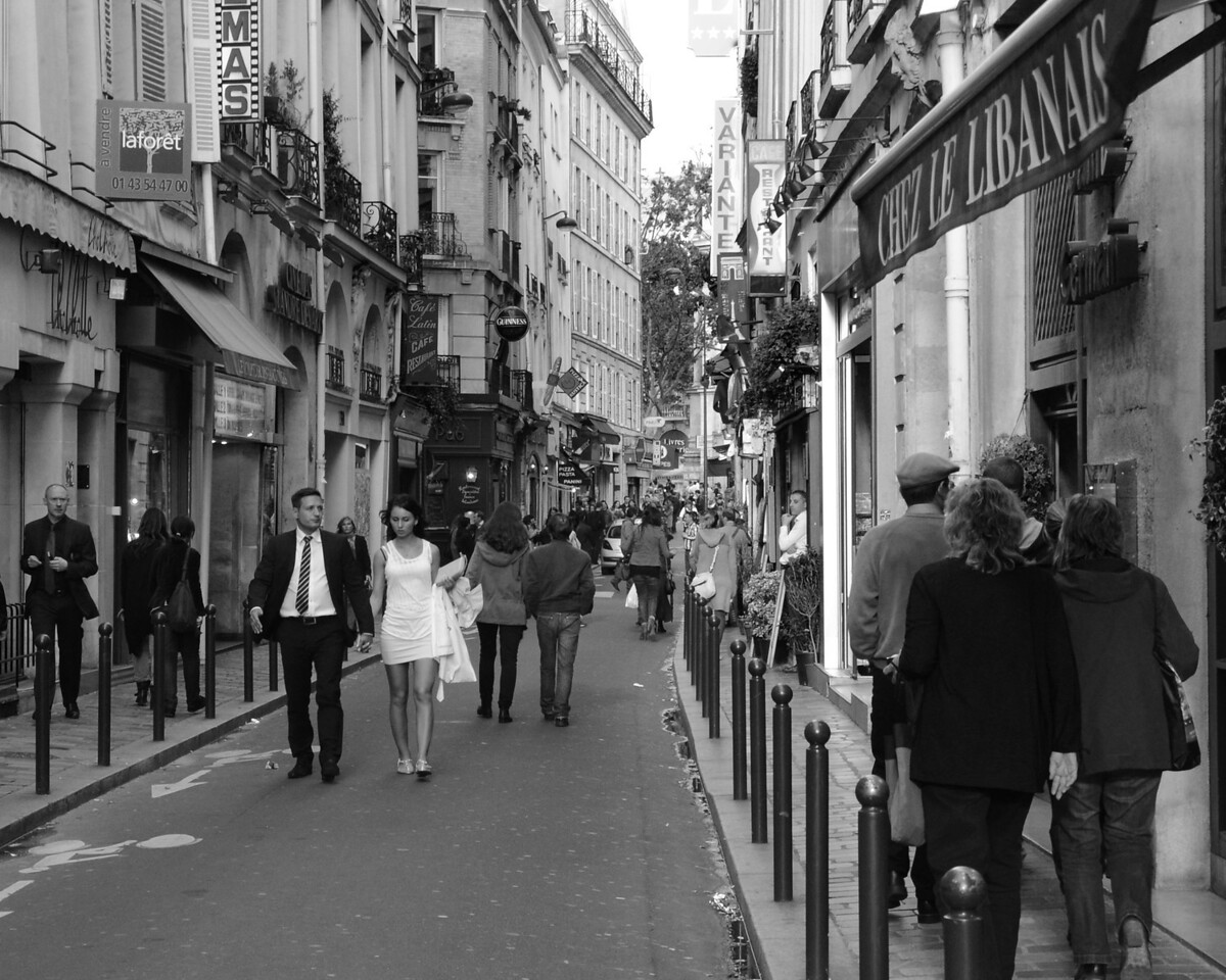 Steet scene on the Rue St. Andre Des Arts