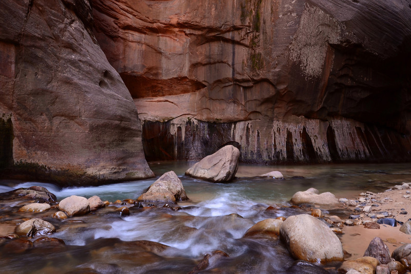 The Virgin River in a deep section of the Narrows.