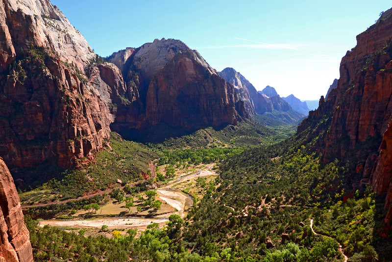 View of Zion Canyon from the trail to Angels Landing.