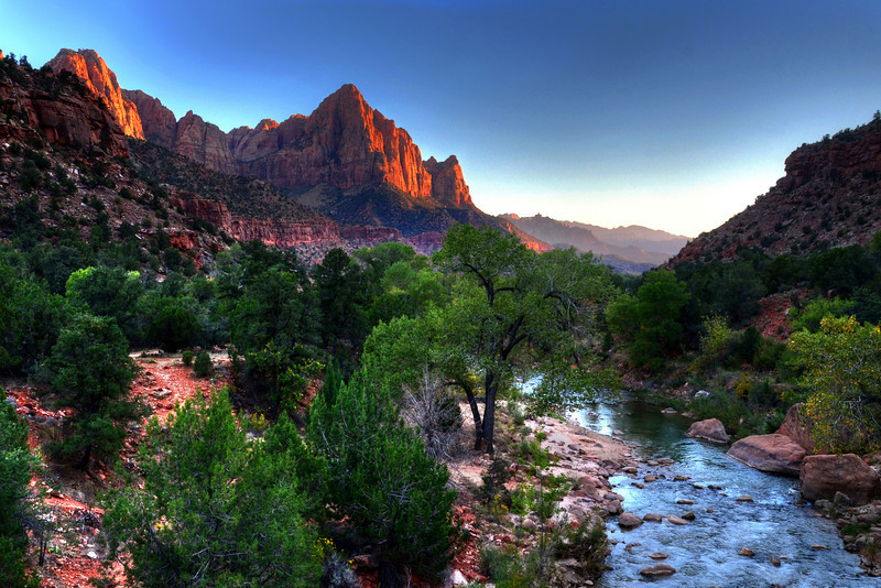 Sunset view of The Watchman from the Canyon bridge in Zion National Park.