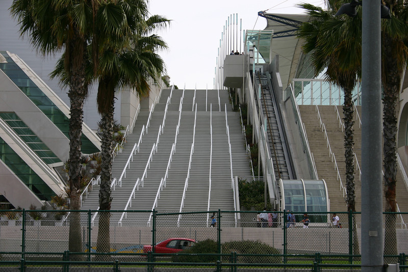 Going Up The San Diego Convention Center has an interesting elevator that moves diagonally, but it is far more fun to take the stairs. There are a lot of stairs
