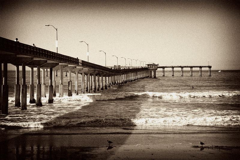 #123 Ocean Beach Pier sepia tone