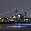 USS Midway. The streak across the front is from a water taxi passing during the long exposure used when taking this shot.
