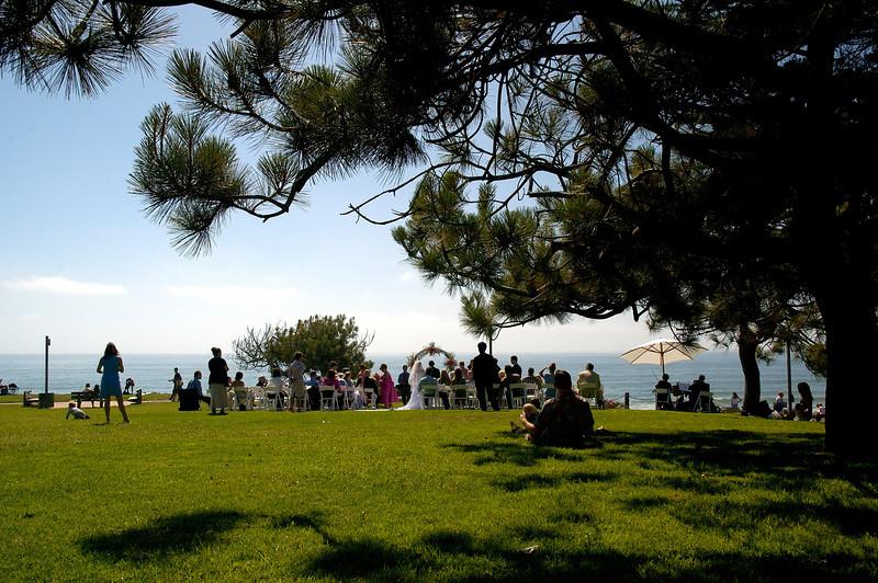 Wedding in a park in Del Mar near San Diego.