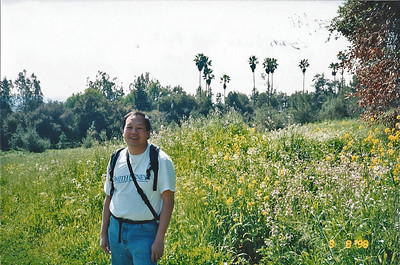 3/8/98 Gil in front of tons of mustard and wild radish. Nature Trail, San Dimas Canyon.