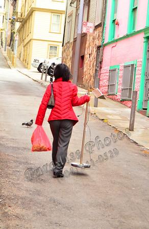 lady w lamp in alley SF 829