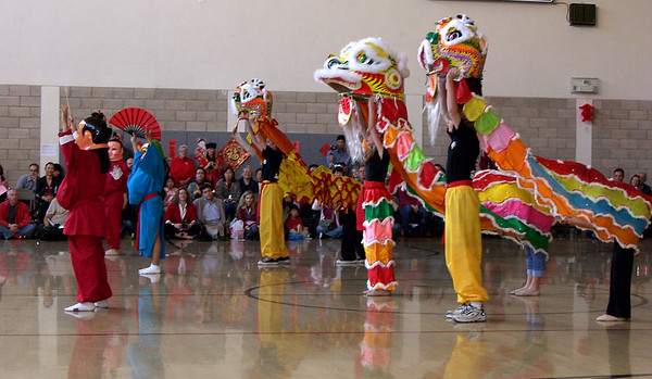 Lion dancers at CAIS New Year pageant.