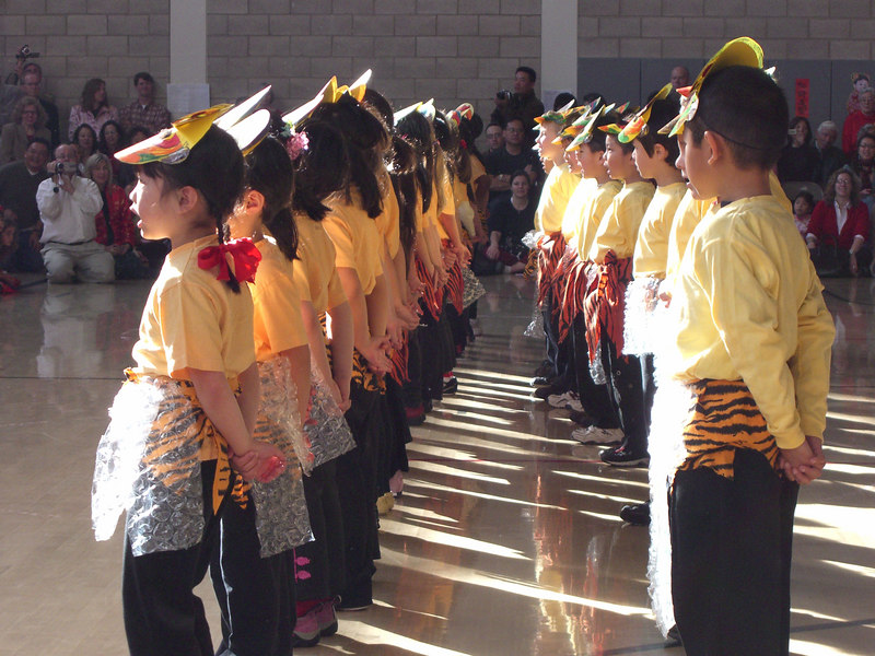Elementary school students at CAIS New Year pageant.