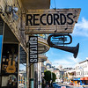 San Francisco, CA, USA, Outside Records Sign on Store front in North Beach Neighborhood