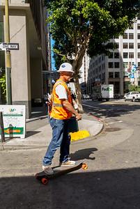 San Francisco, CA, USA, Street Scenes, Worker, on Skateboard, Downtown, Daytime