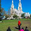 San Francisco, CA, USA, Urban Park, Washington Square, Senior Chinese WOmen Saint Peter and Paul Church in North Beach
