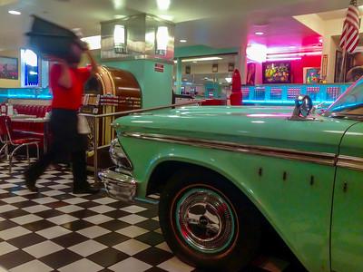 San Francisco, CA, USA, Inside Retro 1950s Interior Decoration, American Diner, Lori's, with Antique Car