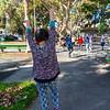 San Francisco, CA, USA, Urban Park, Washington Square, Senior Chinese WOmen Practicing Tai Chi, Chinese martial art, Exercise in North Beach