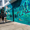 San Francisco, CA, USA, Street Art, Public Mural Painting Is So VIntage Clothes Shop, Guerrero St. Credit Artist: D. Doherty