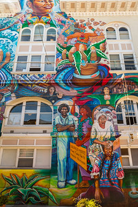 San Francisco, CA, USA, Street Art, Public Mural Painting on the Women's Building, Credit Artists: Juana Alicia, Miranda,