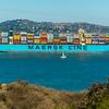 San Francisco, CA, USA, Large Shipping Cargo Vessel on San Francisco Bay, near  Golden Gate Bridge