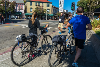 Sausalito, CA, USA, Tourists Visiting CIty, Cycling, San Francisco Suburb