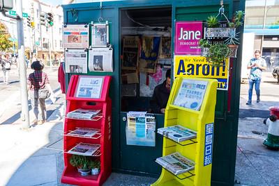 San Francisco, CA, USA, Chinese Newspaper Street Vendor in Chinatown