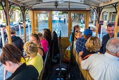 San Francisco, CA, USA, Street Car, VIntage Trolley, Tourists inside