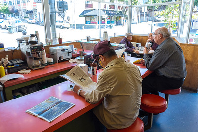 San Francisco, CA, USA, Inside, Japanese People Eating at Counter, Local DIner, Japantown Neighborhood
