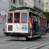 The cable car on the street of San Francisco, California.