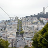 The city streets and the Coit Memorial Tower atop the Telegraph Hill in San Francisco, California.