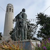 The 210 ft Coit Tower, also known as the Lillian Coit Memorial Tower, and the statue of Columbus in the Telegraph Hill neighborhood of San Francisco, California.