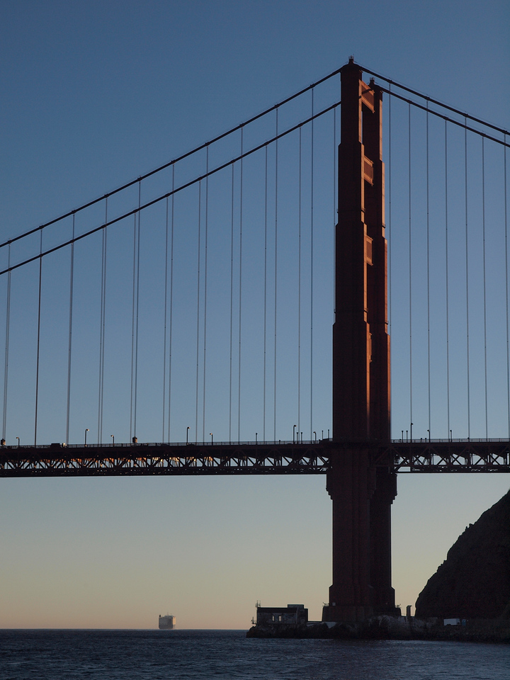 Outbound, underneath the Golden Gate.
