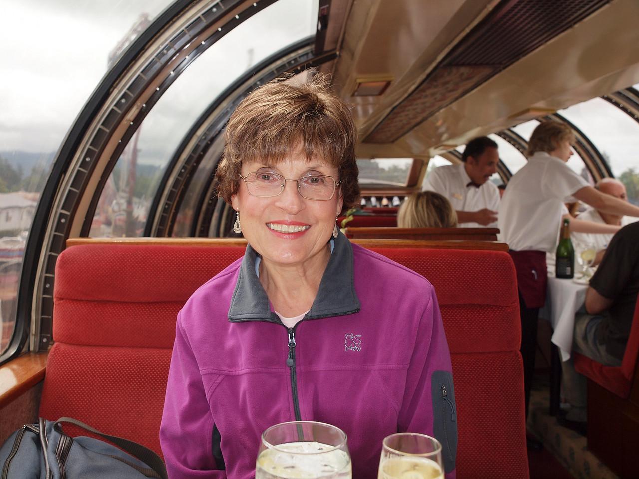 Katherine on the Napa Valley Wine Train.