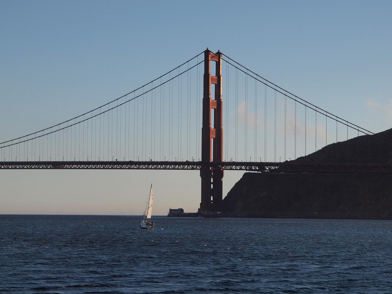 Sailing towards the Golden Gate.