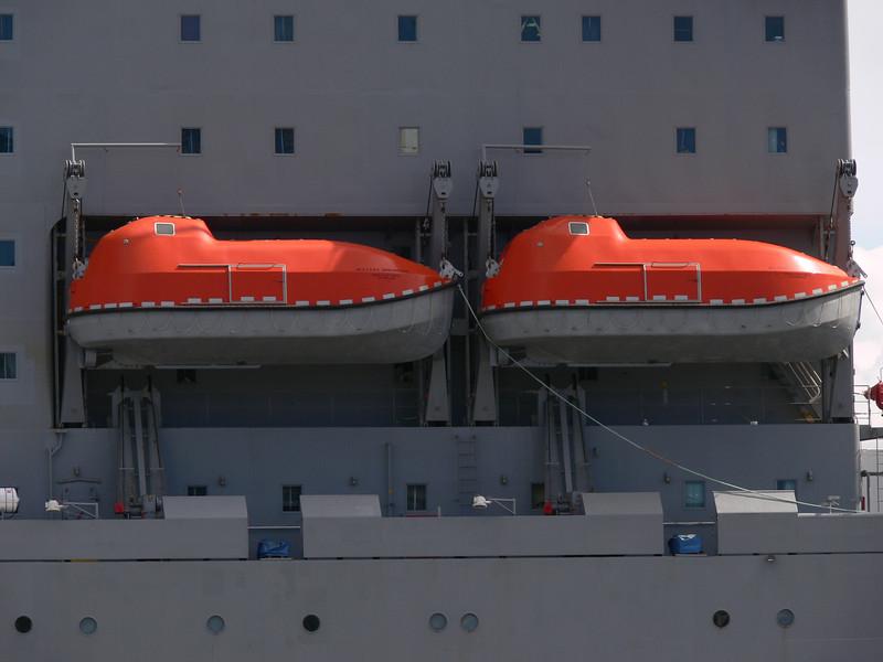 Neato life-boats on the ship.  I love the zoom on my camera! :)