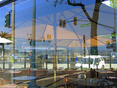 """The Embarcadero"" (cafe window reflection)"