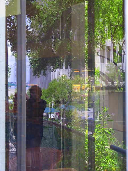 Self-portrait with Bay Bridge and Embarcadero Center