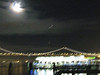 Bay Bridge and helicopters at night