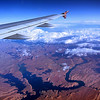 Flying over the Glen Canyon National Recreation Area in southern Utah on flight from DFW to SFO