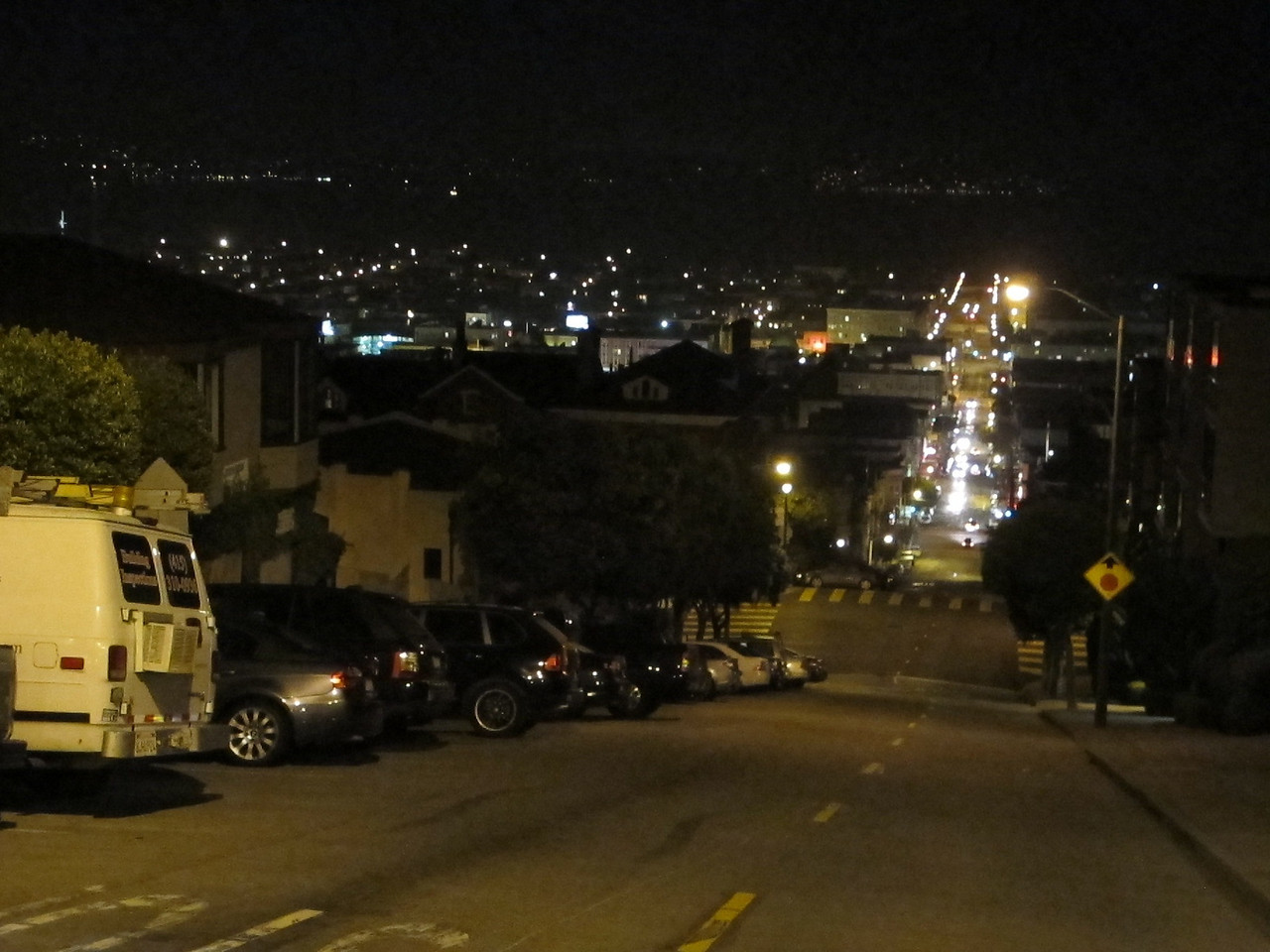 Looking towards the water down Folsom St. Steep San Francisco hills.