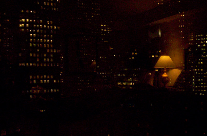 San Francisco skyline from hotel room, 6 pm