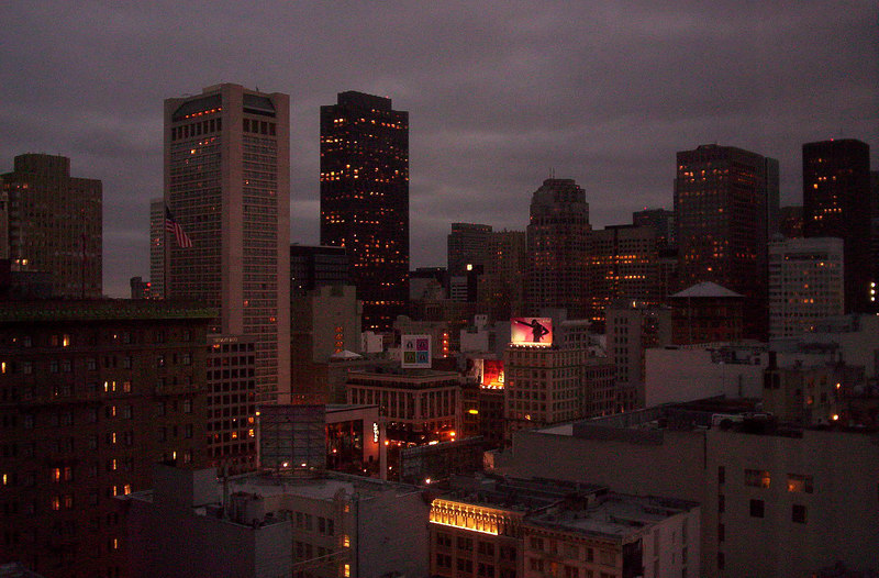 San Francisco (looking towards Union Square) from 19th floor hotel room, 6:15 am