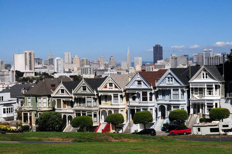 Alamo Square in San Francisco.  You often see this on TV.  The locals call it the painted ladies.