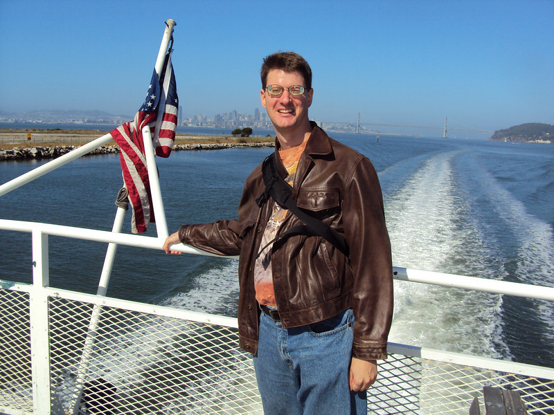Aboard a ferry boat going across the bay.