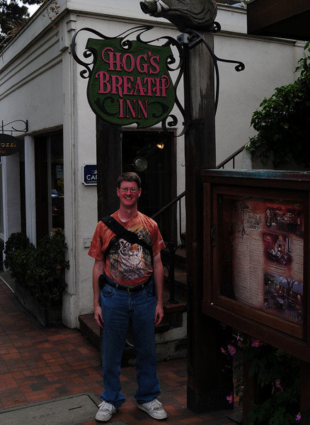 "I'm at the Hog's Breath Inn in Carmel.  This is a resturaunt owned by Clint Eastwood.  ""Go Ahead Make My Day!"""