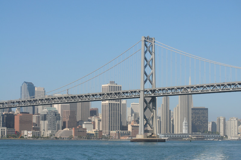Wide view of the skyline with the bridge.