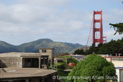 South tower with former Endicott-era battery of Fort Winfield Scott in foreground and north tower and Marin headlands in background, March 2010
