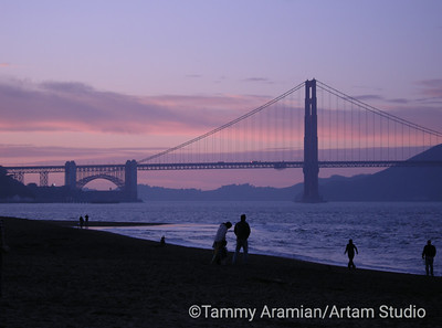 South tower at dusk from Crissy Field, January 2010