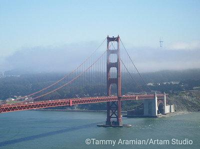 South tower with Sutro Tower peeking out of fog from Marin Headlands, September 2006
