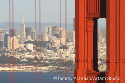North tower and San Francisco skyline from Marin Headlands, May 2004