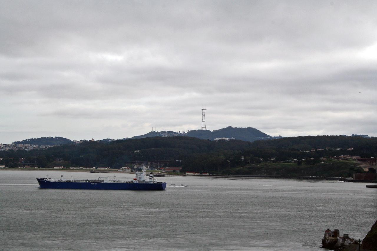 Feb. 18/08 - Twin Peaks & Sutro Tower from the Golden Gate Bridge, San Francisco